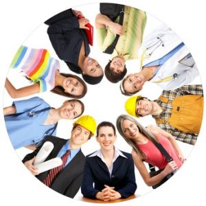 Businessman, business woman, builder, nurse, architect, student. Over white background